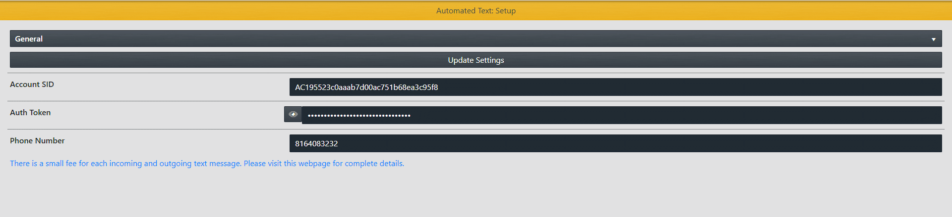 Automated Text: Setup Credentials