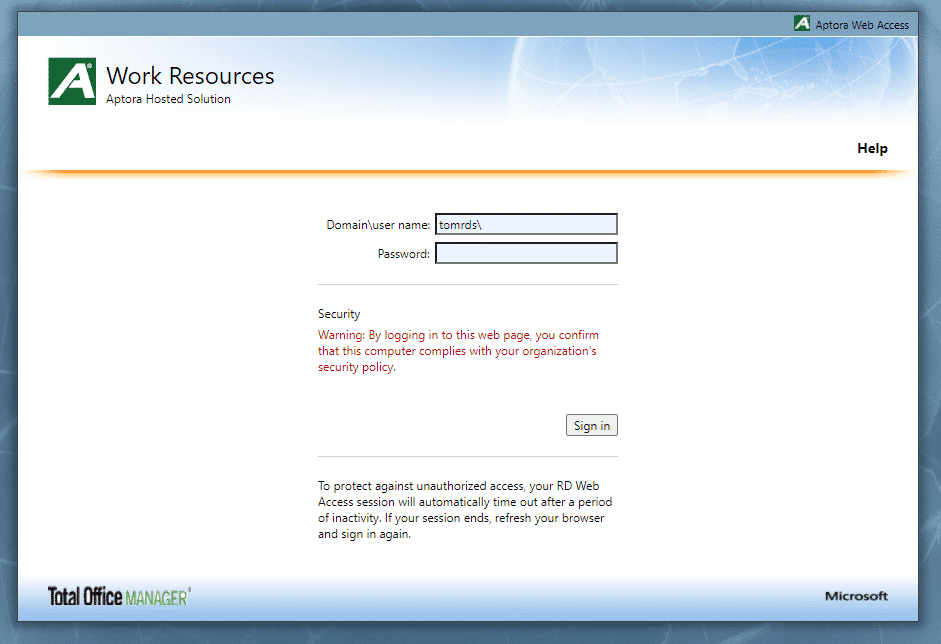 Work Resources - Hosted Login