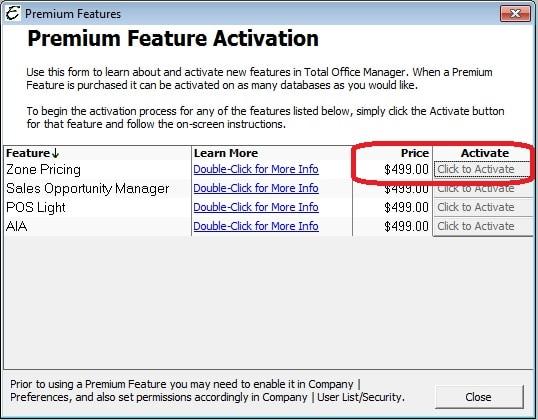 Premium Feature Zone Pricing