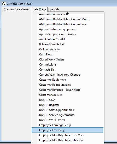 Custom Data Viewer - Employee Efficiency