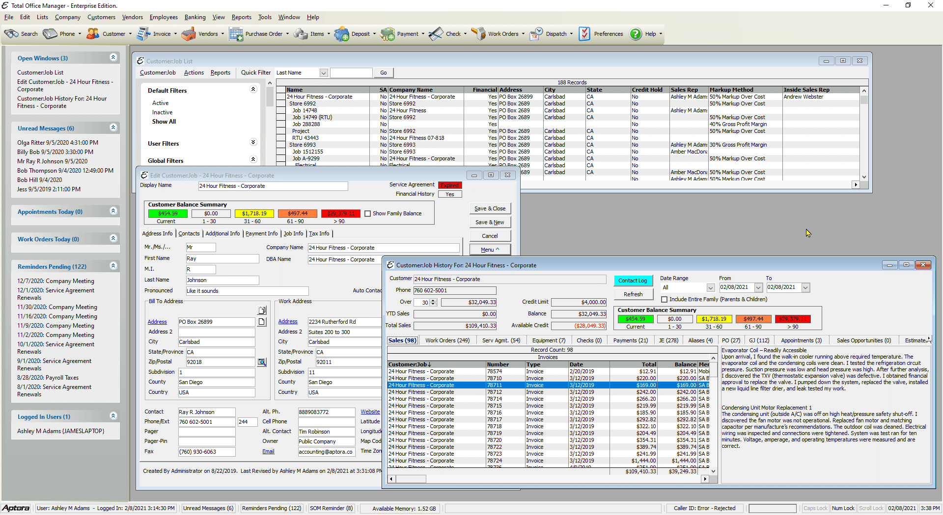 Service Contractor Software Main Screen