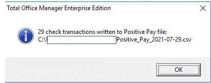 Positive Pay Notification