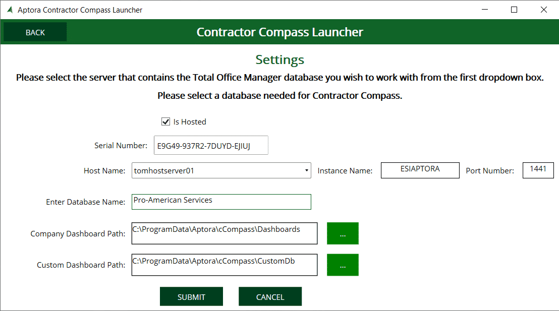 Sample - Contractor Compass Hosted Settings