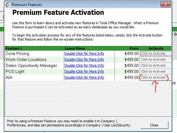 Premium Feature Activation