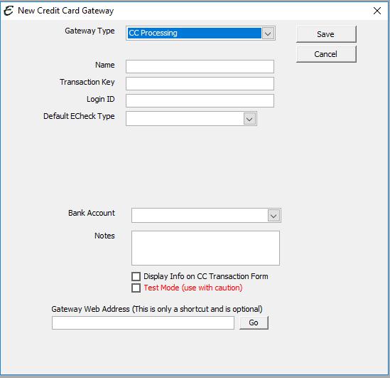 New Gateway Form